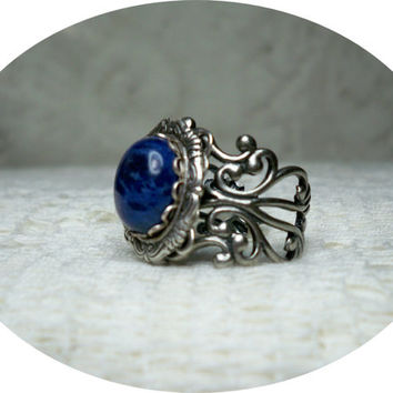 Ring - Blue Lapis ring - Vintage Style - Adjustable Ring - Rings - Sale - Free Shipping
