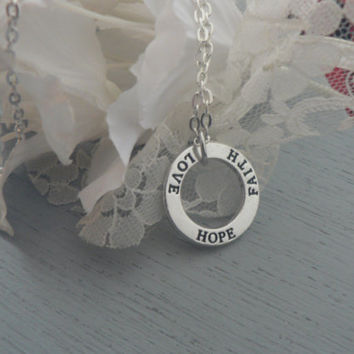 Love Hope Faith Stamped Necklace Circle of love disk Pendant  Simple Everyday Jewelry