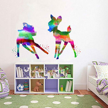 kcik2108 Full Color Wall decal Watercolor Bambi Character Disney Sticker Disney children's room Fawn