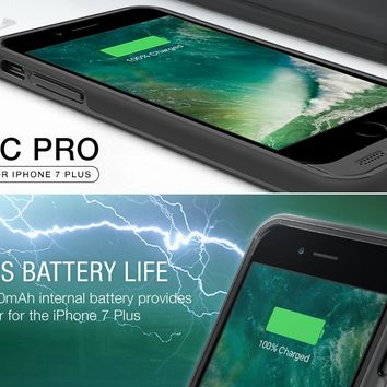 iPhone 7 Plus Battery Case, Trianium Atomic Pro iPhone Portable Charger iPhone 7 Plus 2016 Charging Case [Black] 4200mAh Extended Battery Pack Power Cases Juice Bank Cover[Apple Certified Part]