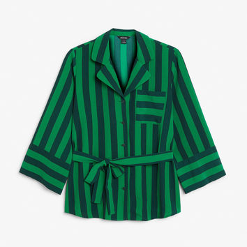 Tie waist blouse - Green envy - Tops - Monki GB