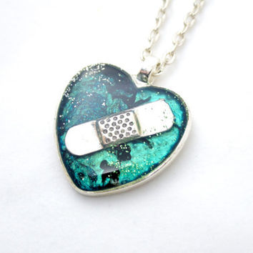 Mended Heart Bandaid Necklace in Teal and Black for CHD Heart Disease Broken Heart