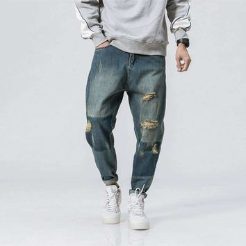 Mens Design Baggy Ripped Blue Jeans Low Waist Loose Distressed Hole Denim Pants Streetwear