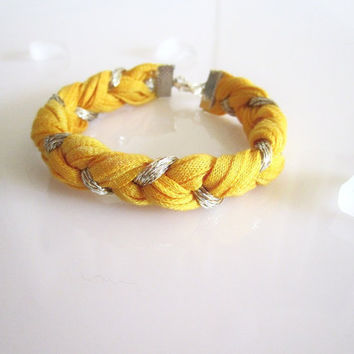 Mellow Yellow-  Fiber Bracelet- Braided Bracelet - Eco Friendly - Dyed Recycled Tshirt Cotton, Silver Gold Sparkle Yarn