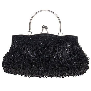 BaoLan Evening Clutch Womens Vintage Sequined Kissing Lock Clutch Purses For Wedding amp Party