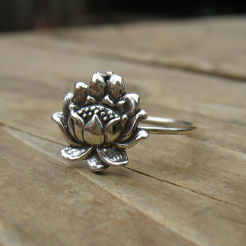 Stacking Ring Silver Lotus Flower