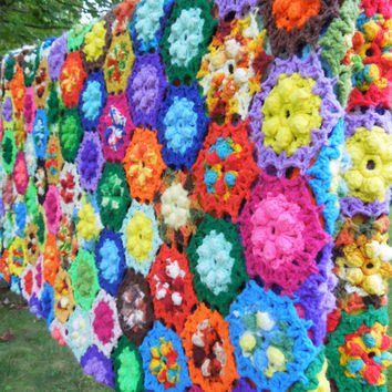 "Large vintage crochet blanket afghan bedspread bed cover - Crochet floral blanket - Colorful multicolored crochet blanket 108"" x 101"""