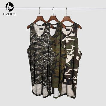 men's exercise sleeveless camo shirts long tank top