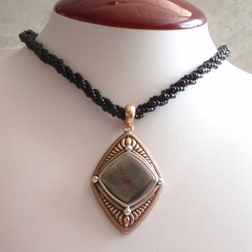 Copper MOP Necklace Mother of Pearl Diamond Shape Large Barse Sterling Silver Statement Vintage CW0319