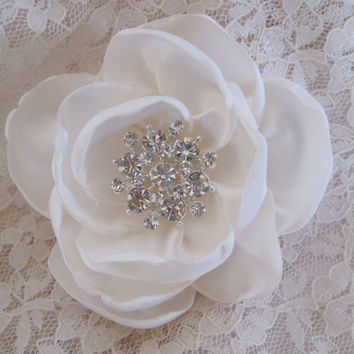 Petite Ivory Satin  Wedding Flower Hair Clip Acessories Bride Mother of the Bride, Bridesmaids with Rhinestone Accent