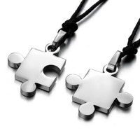 Men,Women's 2PCS Stainless Steel Pendant Necklace Silver Jigsaw Puzzle Valentine Adjustable