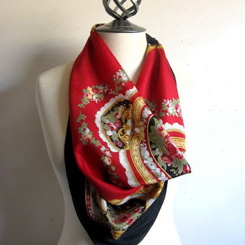 Vintage 1970s Silk Scarf Echo Red Black Baroque Silk Square Scarf Foulard de Soie