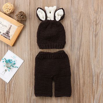 2018 Christmas Newborn Baby Girl Boy Crochet Knit Costume Photography Props Hat +Pants Cute Set Outfits