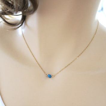 Tiny Turquoise Necklace, Solitaire Necklace, Dainty Gold Filled, Minimal / Layering Gold Necklace, Simple Everyday Jewelry, Blue, just1gold