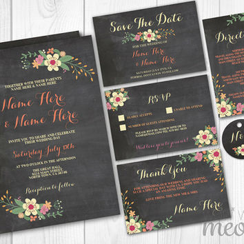 Wedding Invitations Set Template Rustic Package Printable Invites Save The Date INSTANT DOWNLOAD Tags Chalk Pink Floral Personalize Editable