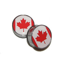"""Canadian Flag Plugs - 1 Pair - Sizes 2g, 0g, 00g, 7/16"""", 1/2"""", 9/16"""", 5/8"""", 3/4"""", 7/8"""" & 1"""""""