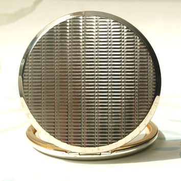 Powder Compact, Stratton Compact Mirror, Silver Plated Compact, Compact Mirror, Linear Design, Simple Pattern, Dressing Table, Metal - 1970s