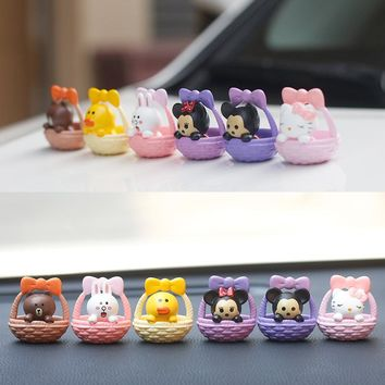 Disney 6pcs/set Cute Lovely Micky Hello Kitty Basket Miniature Toys Action Figure Toy Kids Birthday Gift