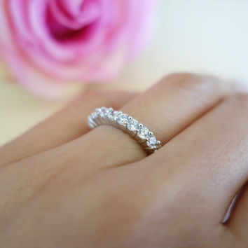 rings pid gold bands ring eternity jewelry band moissanite carat round diamond white anniversary