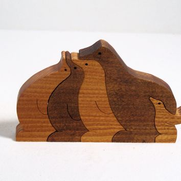 scroll saw cut wooden puzzle, penguins - $18.00 - Handmade Crafts by BasketsByDebi