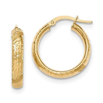 14K Yellow Gold Polished Textured Small Round Hoop Earrings