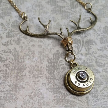 Bullet necklace, deer antler, bullet jewelry, ammo necklace , ammo jewelry