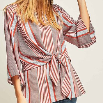 Nice And Easy Vertical Stripe Pattern 3/4 Sleeve Round Neck Tie Front Tunic Blouse Top