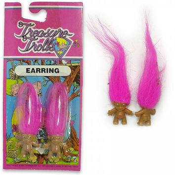 Vintage Treasure Troll Earrings Jewelry PINK Pair