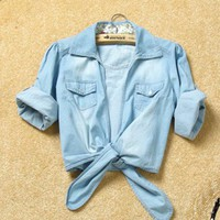 # Free Shipping # Ladies Blue Jean Shirt One Size WO1015bl