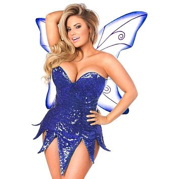 Daisy Top Drawer Blue Sequin Fairy Corset Dress Costume