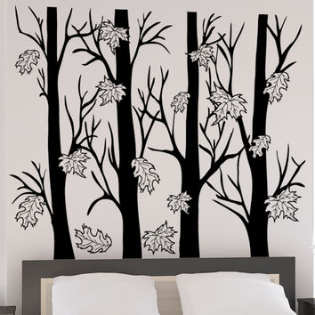 Vinyl Wall Decal Sticker Trees With Autumn Leaves #5351