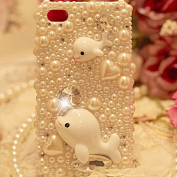 cute whales pearl rhinestone case for iphone 4/4s/5 from Fancy Mall