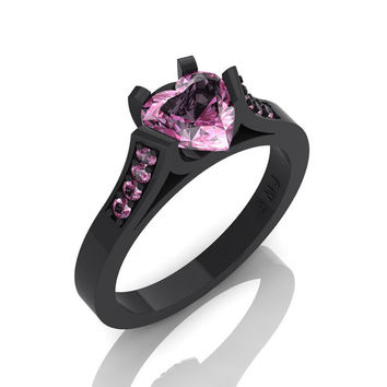 Gorgeous 14K Black Gold 1.0 Ct Heart Light Pink Sapphire Modern Wedding Ring, Engagement Ring for Women R663-14KBGLPS