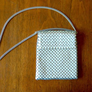 silver mesh purse - vintage 70s whiting and davis disco chain mail shoulder bag - chain strap