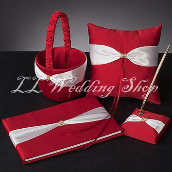 Free shipping,Set of 4pc Red&white crystal Ribbon Satin Wedding Guest Book Ring Pillow Flower Basket Pen Holder Sets WS69