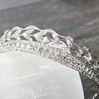 Swarovski Crystal Art Deco Bridal Tiara, Crystal Wedding Crown, Rhinestone Tiara, Wedding Tiara, Diamante Crown Diadem, Princess Bride Tiara