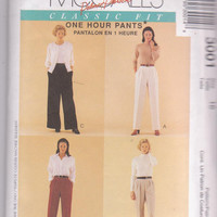 Pattern for pleated pants with elastic waist, tapered, straight or wide legs by Palmer & Pletsch misses size 16 McCall's 3001 UNCUT