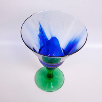 Vintage Twisted Stem Goblet Green Optic Glass Chalice Airbrushed Cobalt Blue Candle Holder Art Glass
