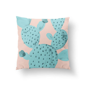 Cactus Pillow, Plant Illustration Pillow, Home Decor, Cushion Cover, Throw Pillow, Bedroom Decor, Bed Pillow, Decorative Pillow, Plant Decor