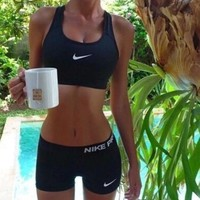 NIKE Trending Women Casual Gym Sport Vest Tank Top Bra Shorts Underwear Set Two-Piece Sportswear I