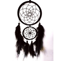 Black faux suede trim double dream catcher, black web 10cm & 7cm diameter dreamcatcher hand made