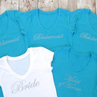 5 Bridesmaid Shirts. V-neck Bridal Party Shirts. Bride, Maid of Honor. Wedding gift. Bachelorette Party. Tank Tops