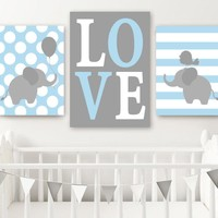 Boy ELEPHANT Nursery Wall Art Canvas or Prints  Baby BOY Elephant Decor, Twin Boy Nursery Decor, Elephant Love Wall Decor Set of 3 Art