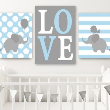 Boy ELEPHANT Nursery Wall Art, Canvas or Prints, Baby BOY Elephant Decor, Twin Boy Nursery Decor, Elephant Love Wall Decor Set of 3 Art