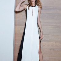 Alexis Perla Long Dress in White/Black