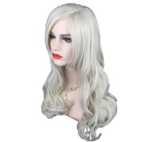 65 Cm Women Long Silver White Front Curly Hairstyle Synthetic Hair Wigs For White new Styling Accessory #11