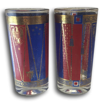 Set of 2 George Briard Signed Americana Tumblers Red Blue & Gold