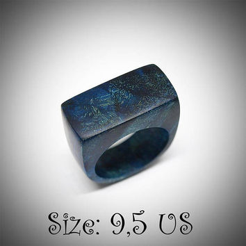 Size 9,5 US ring, Stabilized maple burl, Wood ring, Wooden ring, Wood jewelry, Wood rings, Wooden rings, Blue ring, Blue men ring, Flat ring