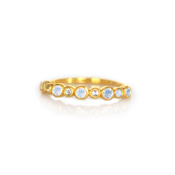 Rainbow Moonstone and Aquamarine Linear Ring