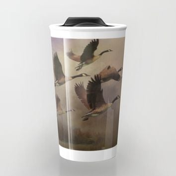 Wild Geese at Dawn Travel Mug by Theresa Campbell D'August Art